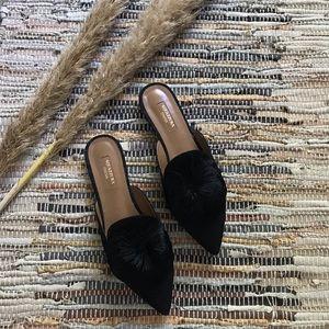 Aquazzura Powder Puff pompom suede slippers